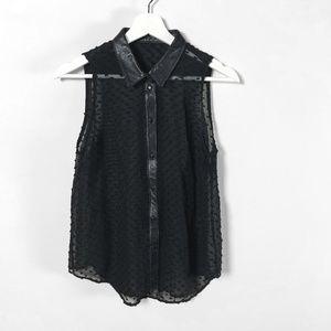 Tops - Vintage Silk + Leather Sheer Swiss Dot Blouse